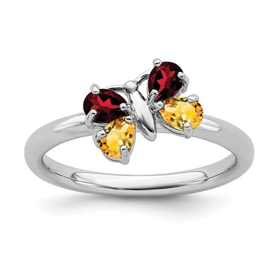 Sterling Silver Citrine Garnet Butterfly Ring