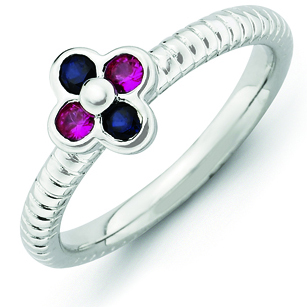 Sterling Silver Stackable Expressions Created Ruby Sapphire Ring