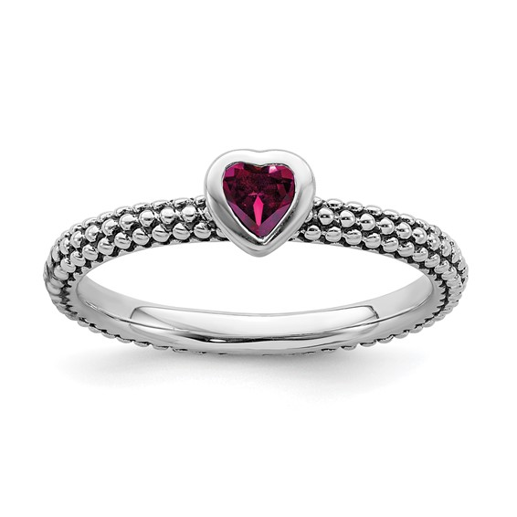Sterling Silver Stackable Expressions Created Ruby Heart Beaded Ring