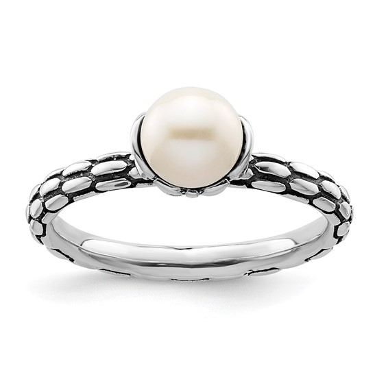 Sterling Silver Stackable 6mm White Pearl Patterned Ring