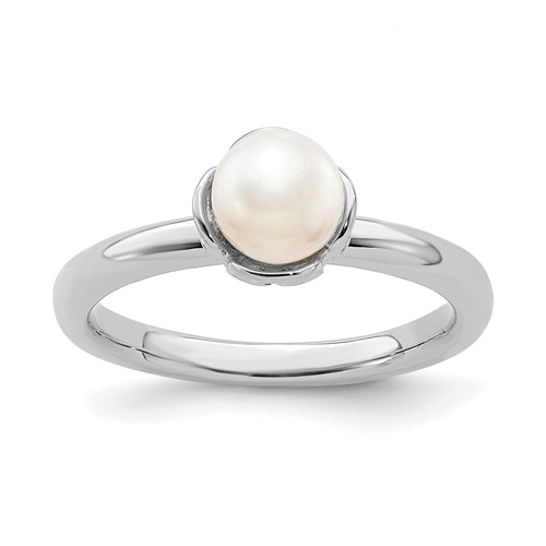Sterling Silver Stackable Expressions 6mm White Pearl Ring
