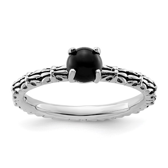 Sterling Silver Stackable Expressions Antiqued Black Agate Ring