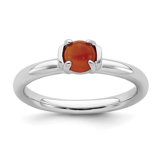 Sterling Silver Stackable Expressions 2.5mm Red Agate Ring