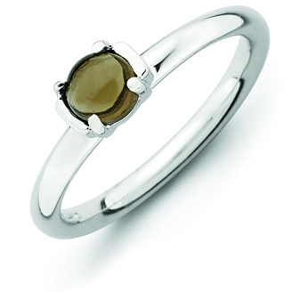 Sterling Silver Stackable Expressions 2.5mm Smokey Quartz Ring