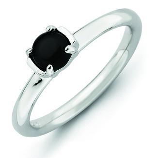 Sterling Silver Stackable Expressions Black Agate Ring