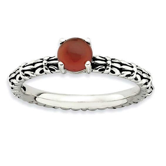 Sterling Silver Stackable Antiqued Red Agate Ring