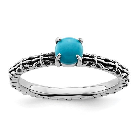 Sterling Silver Stackable Expressions Antiqued Turquoise Ring
