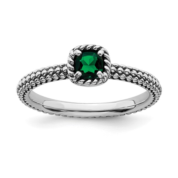 Sterling Silver Stackable Expressions 1/5 ct Created Emerald Ring