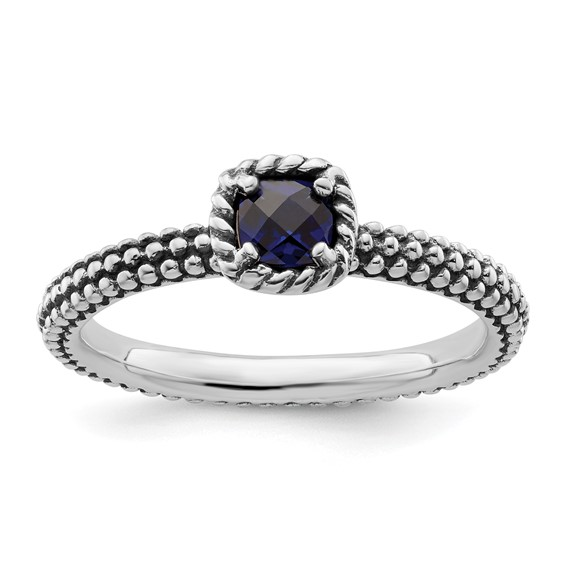 Sterling Silver Stackable Created Sapphire Ring with Beaded Finish