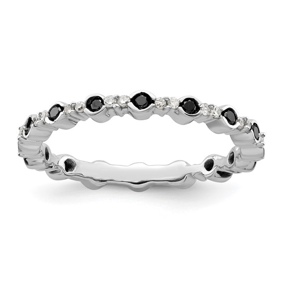 Sterling Silver Stackable Expressions 3/8 ct Black White Diamond Ring