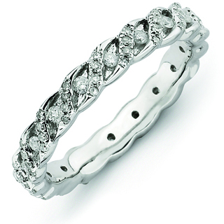 Sterling Silver Stackable Expressions Ribbons Diamond Ring