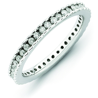 Sterling Silver Stackable Diamond Ring with Scalloped Edges