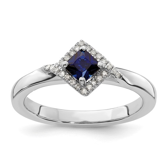 Sterling Silver Stackable Expressions Created Sapphire and Diamond Ring