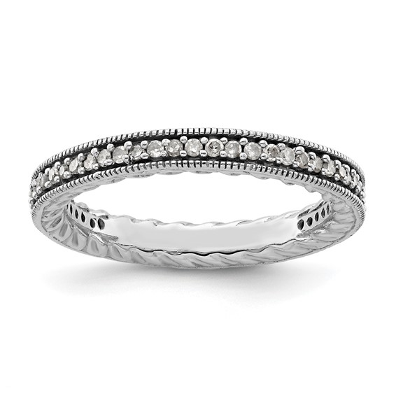 Sterling Silver Stackable Diamond Ring with Milgrain Edges
