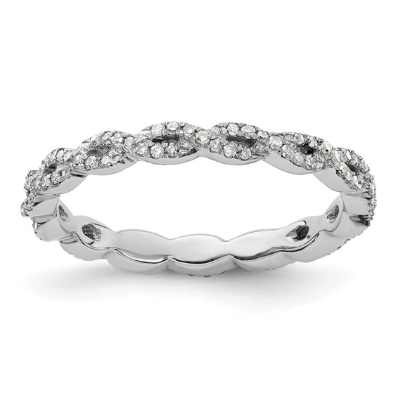 Sterling Silver Stackable Expressions Rope Diamond Ring