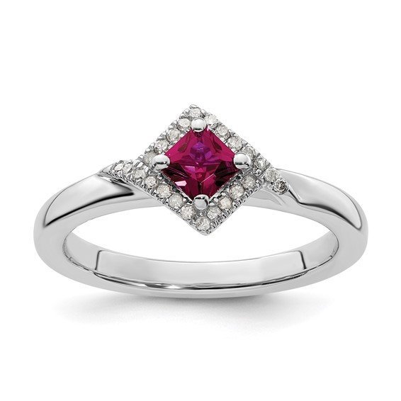 Sterling Silver 2/5 ct Created Ruby & Diamond Ring
