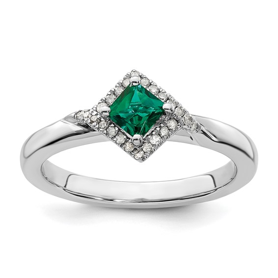 Sterling Silver Created Emerald & Diamond Ring