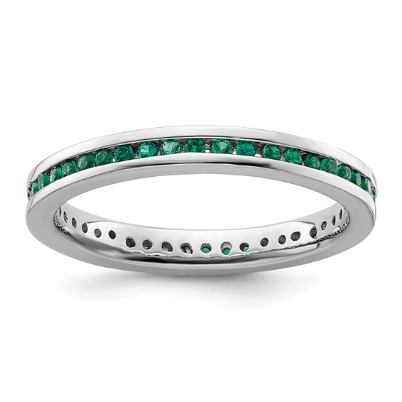 Sterling Silver Stackable Expressions Created Emerald Ring