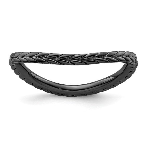 Sterling Silver Stackable Wheat Black-plate Wave Ring