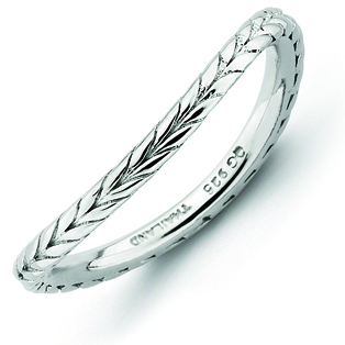Sterling Silver Stackable Wheat Rhodium-plate Wave Ring