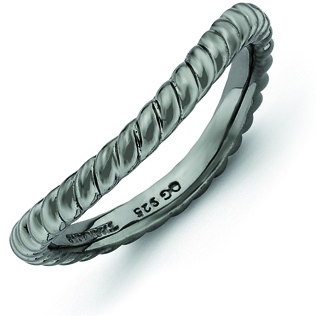 Sterling Silver Stackable Rope Black-plated Wave Ring
