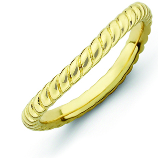 Sterling Silver Stackable Rope Gold-plated Wave Ring
