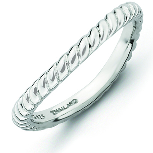 Sterling Silver Stackable Rope Rhodium-plated Wave Ring