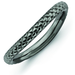 Sterling Silver Stackable Expressions Black-plate Wave Ring