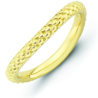 Sterling Silver Stackable Expressions Gold-plated Wave Ring