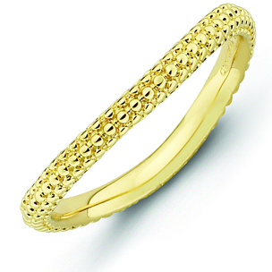 18kt Yellow Gold-Plated Sterling Silver Stackable Bumpy Wave Ring