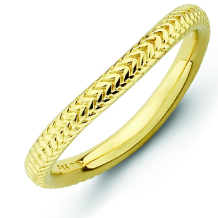 18kt Yellow Gold-plated Sterling Silver Stackable Textured Wave Ring