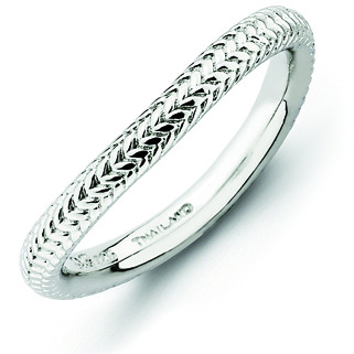 Sterling Silver Stackable Textured Wave Ring