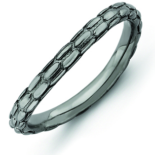 Sterling Silver Stackable Pebble Black-plated Wave Ring