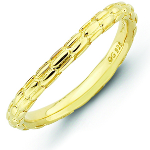 18kt Yellow Gold-plated Sterling Silver Stackable Pebble Wave Ring
