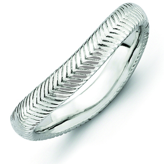 Sterling Silver Stackable Rhodium-plated Wave Ring