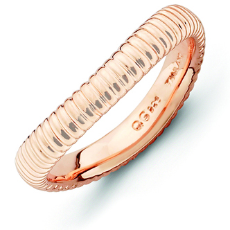 Sterling Silver Stackable Ribbed Pink-plated Wave Ring
