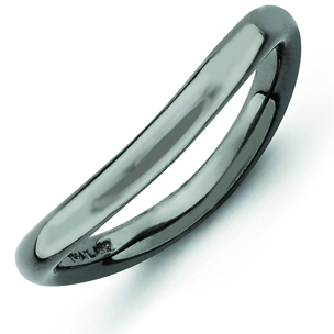 Sterling Silver Stackable 2.25mm Black-plated Wave Ring