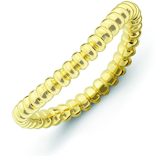 Sterling Silver Stackable Beaded Gold-plated Wave Ring