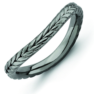 Sterling Silver Stackable 2.25mm Wheat Black-plated Wave Ring
