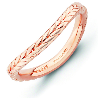 Sterling Silver Stackable 2.25mm Wheat Pink-plated Wave Ring