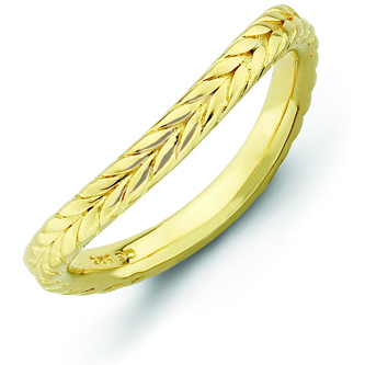 Gold-plated Sterling Silver Stackable 2.25mm Wheat Wave Ring