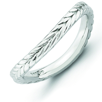Sterling Silver Stackable 2.25mm Wheat Rhodium-plated Wave Ring