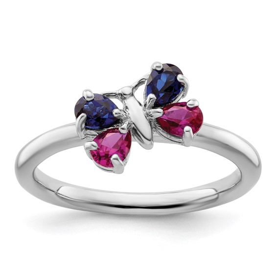 Sterling Silver Stackable Created Ruby Sapphire Butterfly Ring