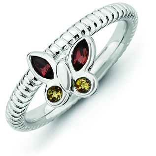 Sterling Silver Stackable Garnet Citrine Butterfly Ring