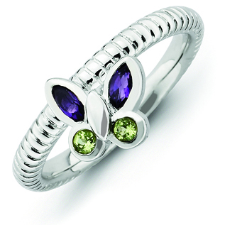 Sterling Silver Stackable Amethyst Peridot Butterfly Ring