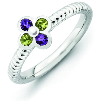 Sterling Silver Stackable Amethyst Peridot Flower Ring