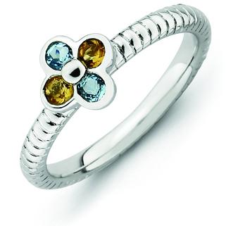 Sterling Silver Stackable Blue Topaz Citrine Flower Ring