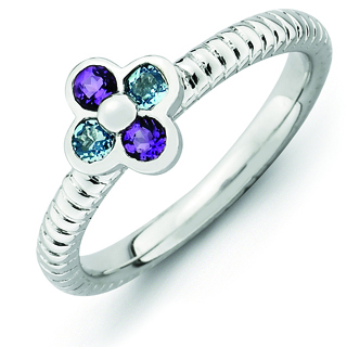 Sterling Silver Stackable Blue Topaz Amethyst Flower Ring