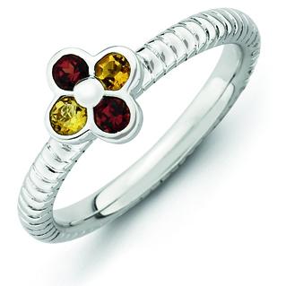 Sterling Silver Stackable Expressions Garnet Citrine Flower Ring