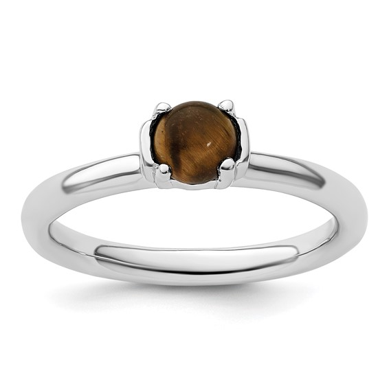 Sterling Silver Stackable Round Tigers Eye Ring